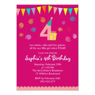 4th Birthday Girls Cute Pink Party Invitation