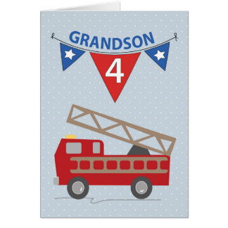 4th Birthday Grandson, Firetruck Card