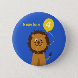 4th birthday lion add name blue 2 inch round button
