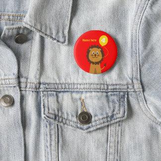 4th birthday lion add name red 2 inch round button