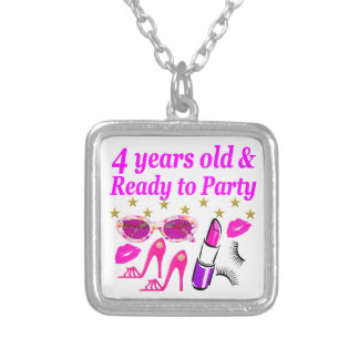 4TH BIRTHDAY LITTLE DIVA IS READY TO PARTY DESIGN SILVER PLATED NECKLACE