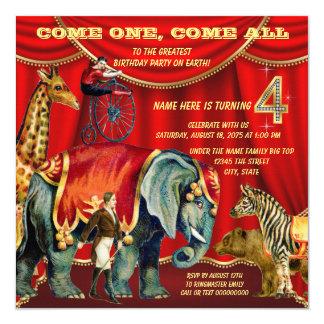 "4th Birthday Party 5.25"" Square Invitation Card"