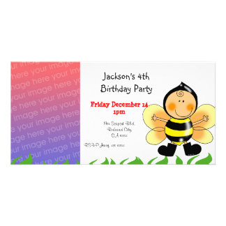 4th birthday party invitations ( bee costume ) photo card