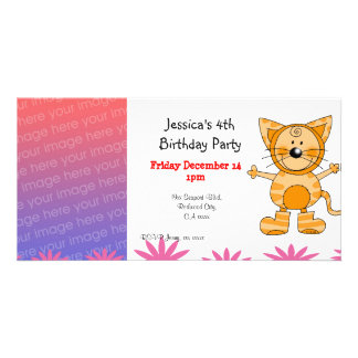 4th birthday party invitations ( cat costume ) customized photo card