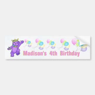 4th Birthday Party Purple Princess Bear Bumper Sticker