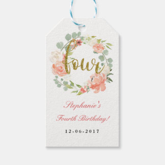 4th Birthday Pink Gold Floral Wreath Tags