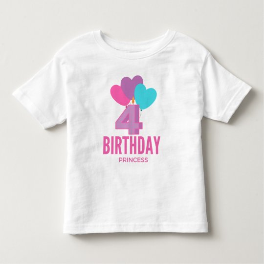 4th Birthday Princess Girls Birthday Party Toddler T-shirt