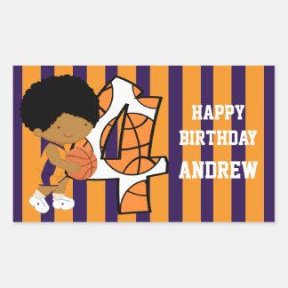 4th Birthday Purple and Orange Basketball Player Rectangular Sticker