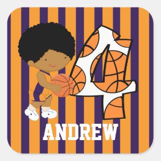 4th Birthday Purple and Orange Basketball Player Stickers