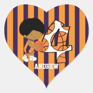 4th Birthday Purple and Orange Basketball Player Heart Sticker