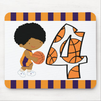 4th Birthday Purple & Orange Basketball Player v2 Mouse Pad