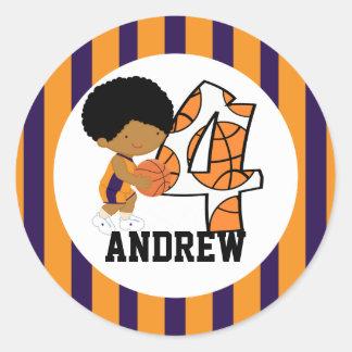 4th Birthday Purple & Orange Basketball Player v2 Classic Round Sticker