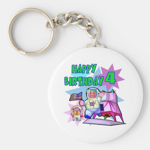 4th Birthday Space Birthday Key Chain
