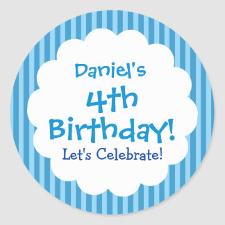4th Birthday Sticker Blue Stripes V1C