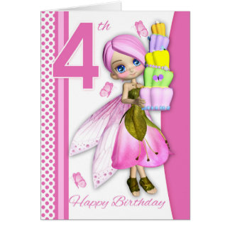 4th Birthday Tipsy Cake Fantasy Fairy Cutie Pie Card