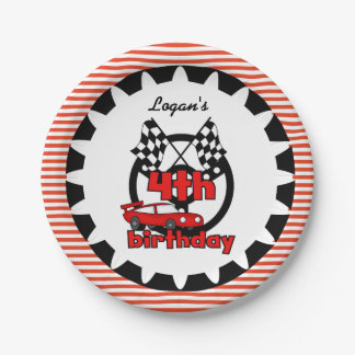 4th Car Racing Happy Birthday Paper Plates 7 Inch Paper Plate