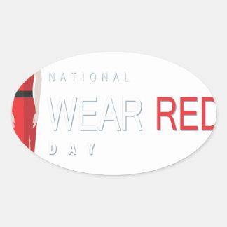 4th February - Wear Red Day - Appreciation Day Oval Sticker