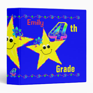 4th Grade School Binders Smiley Stars
