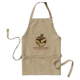 4th Grade Teacher  Apron - Brown Zebra Print Apple