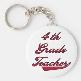 4th Grade Teacher Red Basic Round Button Keychain