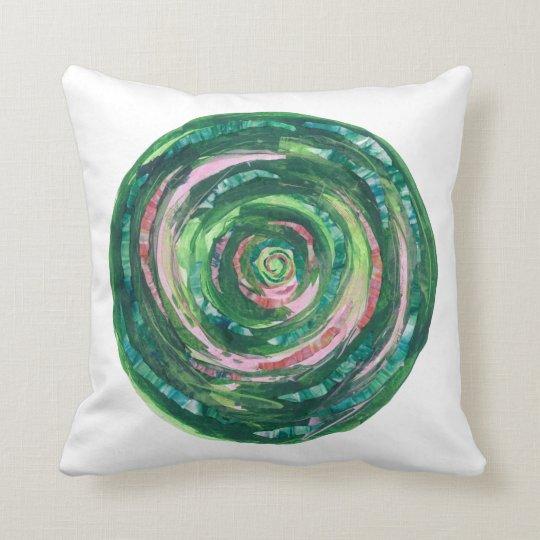 4th-Heart Chakra Green-Pink Artwork #1 Throw Pillow