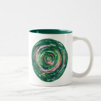 4th-Heart Chakra green-pink artwork #2 Two-Tone Coffee Mug