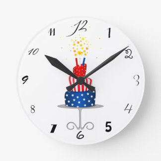 4th July Celebration Cake in Red, White and Blue Clock