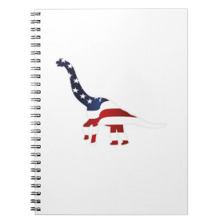 4th July Dinosaur American Flag Funny Gift Notebook