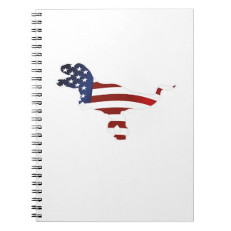 4th July Dinosaur T-Rex American Flag Funny Gift Notebook
