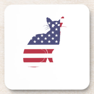 4th July Fourth of July  Cat Independence Day Coaster