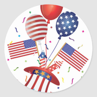 4th July Hat Balloons American Flag Firecrackers Classic Round Sticker