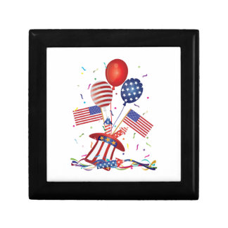4th July Hat Balloons American Flag Firecrackers Gift Box
