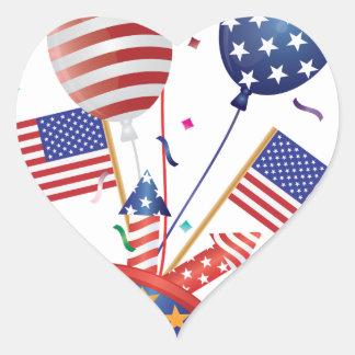4th July Hat Balloons American Flag Firecrackers Heart Sticker