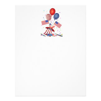 4th July Hat Balloons American Flag Firecrackers Letterhead