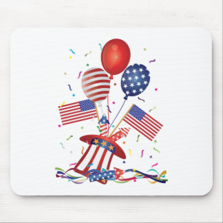 4th July Hat Balloons American Flag Firecrackers Mouse Pad