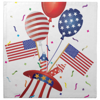 4th July Hat Balloons American Flag Firecrackers Napkin