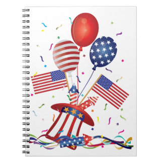 4th July Hat Balloons American Flag Firecrackers Notebook