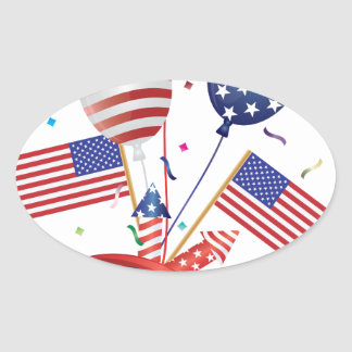 4th July Hat Balloons American Flag Firecrackers Oval Sticker
