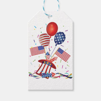 4th July Hat Balloons American Flag Firecrackers Pack Of Gift Tags