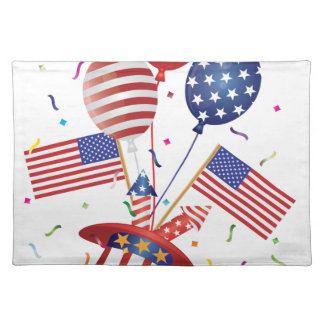 4th July Hat Balloons American Flag Firecrackers Placemat