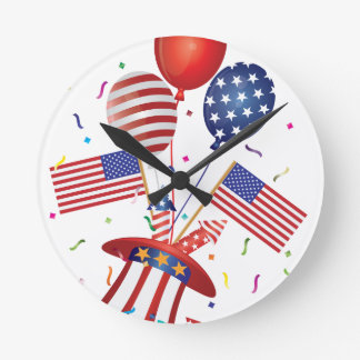 4th July Hat Balloons American Flag Firecrackers Round Clock