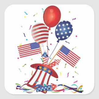 4th July Hat Balloons American Flag Firecrackers Square Sticker