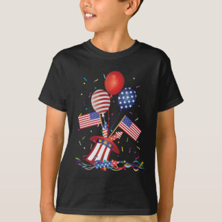 4th July Hat Balloons American Flag Firecrackers T-Shirt
