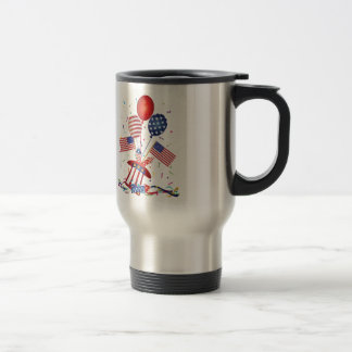 4th July Hat Balloons American Flag Firecrackers Travel Mug
