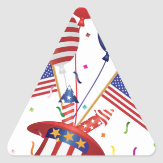 4th July Hat Balloons American Flag Firecrackers Triangle Sticker