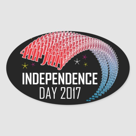 4th July & Independence Day USA Oval Sticker