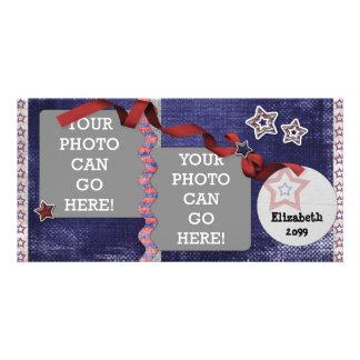 4th July USA American Patriotic Stars Designer Photo Greeting Card