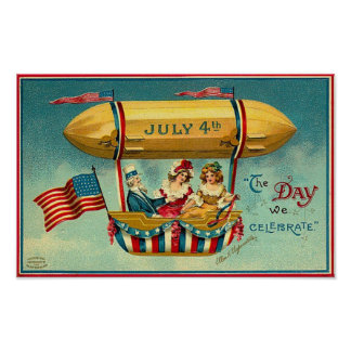 4th of July - Airship - Vintage Art Poster