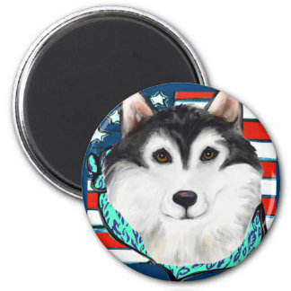 4th of July Alaskan Malamute 2 Inch Round Magnet