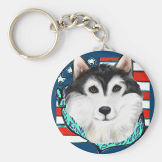 4th of July Alaskan Malamute Basic Round Button Keychain
